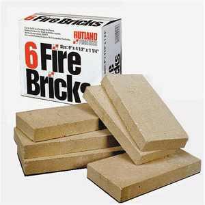 RUTLAND Fire Bricks 6 bricks - 4.5 inch x 9 inch x 1.25 inch