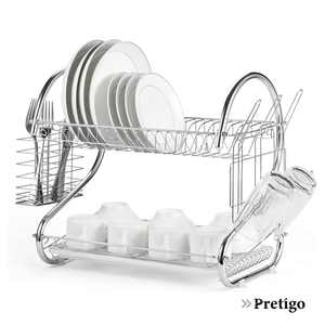 Pretigo Store 2 Tier Dish Drying Rack with Utensil Holder,  Cup Holder and Dish Drainer, Silver Color