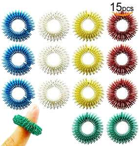 15 Pack Spiky Sensory Finger Acupressure Massage Rings Fidget Toys for Kids Teens Adults, 5 Bright Colors