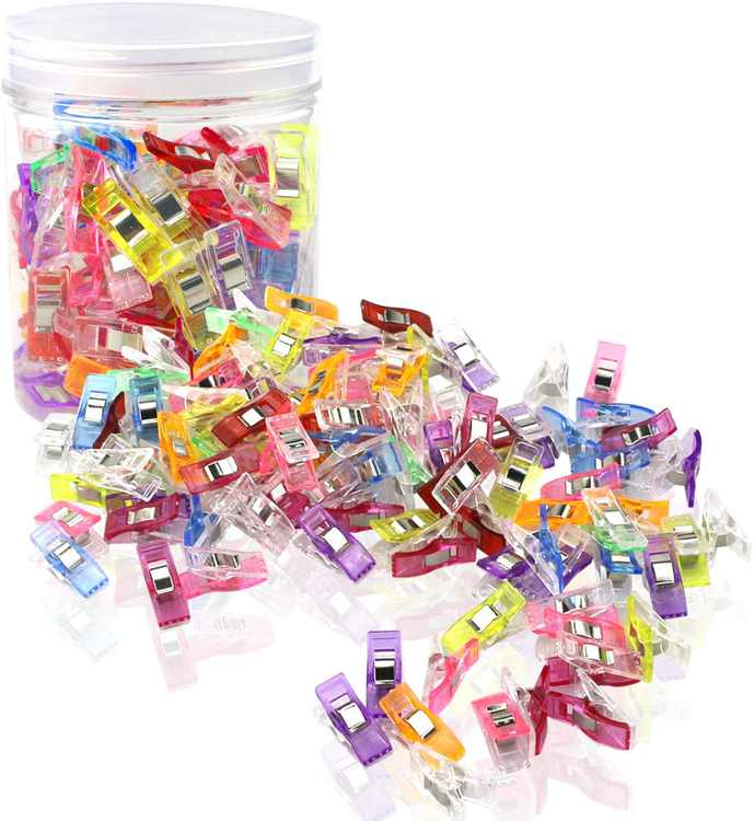 Craft Sewing Clips,100 Pieces Quilting Clips Multipurpose Wonder Clips for Sewing, Quilting, Knitting Safety Clips 2 Size 90 Small 10 Large