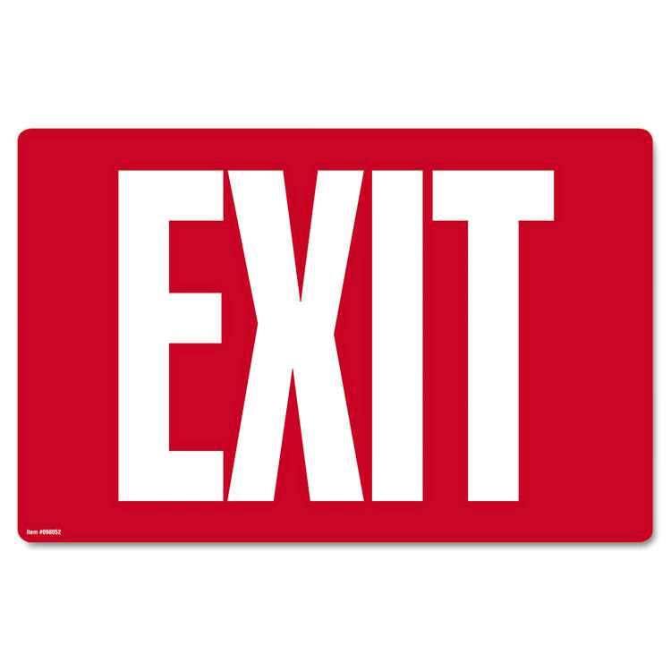 Cosco Glow-in-the-Dark Safety Sign Exit 12 x 8 Red 098052