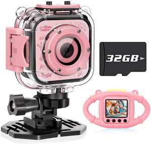 VanTop Junior K3 1080P Kids Camera Underwater Digital Kids Action Camera ,Sports Camera Camcorder for Boys/Girls, 32GB SD Card (Pink)