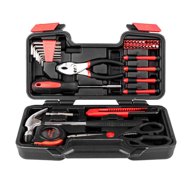 Zimtown 39-Piece Home Use Hand Tool Set, General Household Hand Tool Kit, with Plastic Toolbox Storage Case, Red