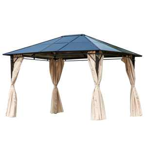 Outsunny 10' x 12' Outdoor Steel Hardtop Patio Canopy Gazebo Party Tent with Removable Curtains