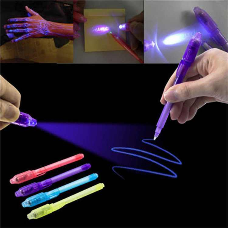 2 In 1 UV Black Light Combo Stationery Invisible Ink Pen Random Color Funny Gift