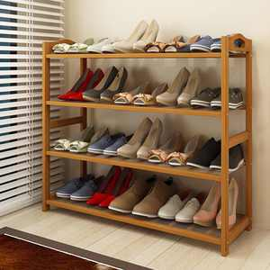 Zimtown Bamboo Wood Shoe Rack 4-Tier Pairs Entryway Shoe Shelf Storage Organizer