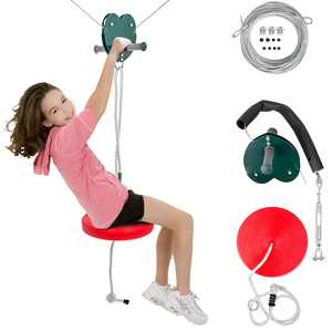 VEVOR 100ft Zip Line Kit Kids Adult Zip Line Trolley Slackers Zip Lines with Seat and Handle Heart Shaped Trolley for Backyard Entertainment