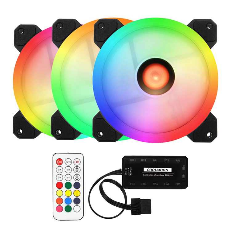 3 Fans Computer Case Fan 120mm RGB Colorful PC CPU Cooling Fan Cooler Silent High Airflow with RGB Controller