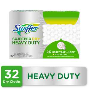 Swiffer Sweeper Heavy Duty Dry Sweeping Pad Refill, Unscented, 32 Count.