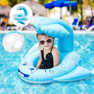 Inflatable Swimming Ring Swimming Pool Float Seat with Sunshade Safe PVC Childen Water Swim Pool Kids Toy