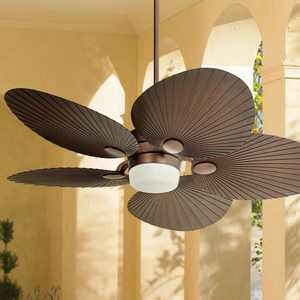 """52"""" Casa Vieja Tropical Indoor Outdoor Ceiling Fan with Light LED Remote Control Oil Brushed Bronze Palm Leaf Damp Rated for Patio Porch"""