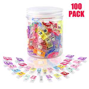 Pack of 100 Pcs Multipurpose Sewing Clips, Craft Quilting Clips for DIY Crafting Blinding Crochet and Knitting Clamps Assorted Colors(90 Small+10 Large)