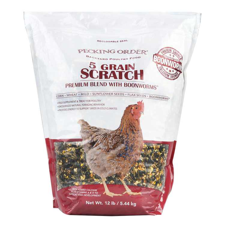 Pecking Order 5 Grain Scratch Chicken Feed, 12 lbs.