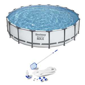 Bestway 18ft x 48in Steel Pro Round Frame Above Ground Pool Set with Accessories