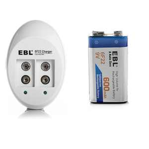 EBL 6F22 600mAh 9V Rechargeable Batteries + Battery Charger For Li-ion Ni-MH Ni-CD Replacement Battery