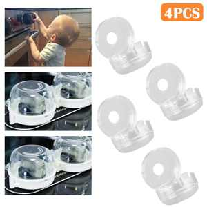 Stove Knob Covers, TSV 4Pcs Universal Clear Gas Electric Oven Protection Locks for Kitchen Safety Baby Kids Proof