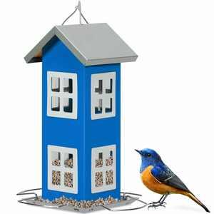 Gymax Outdoor Wild Bird Feeder Weatherproof House Design Garden Yard Decoration Blue