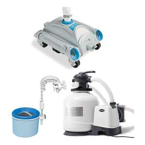 Intex 3000 GPH Pool Sand Filter Pump w/ Automatic Timer & Pool Vacuum & Skimmer