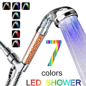Led Shower Head, Ionic Filter Filtration High Pressure Water Saving 7 Colors Automatically No Batteries Needed Spray Handheld Showerheads