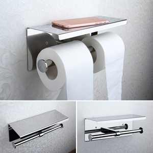 Stainless Steel Double Roll Toilet Paper Holder Wall-Mount Tissue Rack Rail Storage Shelf with Towel Phone Shelf for Home Bathroom