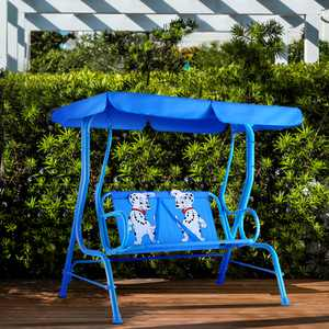 Gymax Kids Patio Porch Bench Swing w/ Safety Belt Canopy Outdoor Furniture Blue