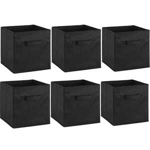 Ktaxon 6-Pcs Foldable Black Storage Collapsible Folding Boxes Clothes Organizer Fabric