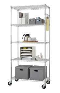 "Trinity EcoStorage"" 5-Tier NSF 36"" x 18"" Wire Shelving - Chrome"