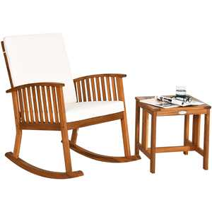 Costway 2PCS Acacia Wood Patio Rocking Chair Set Cushioned Coffee Table