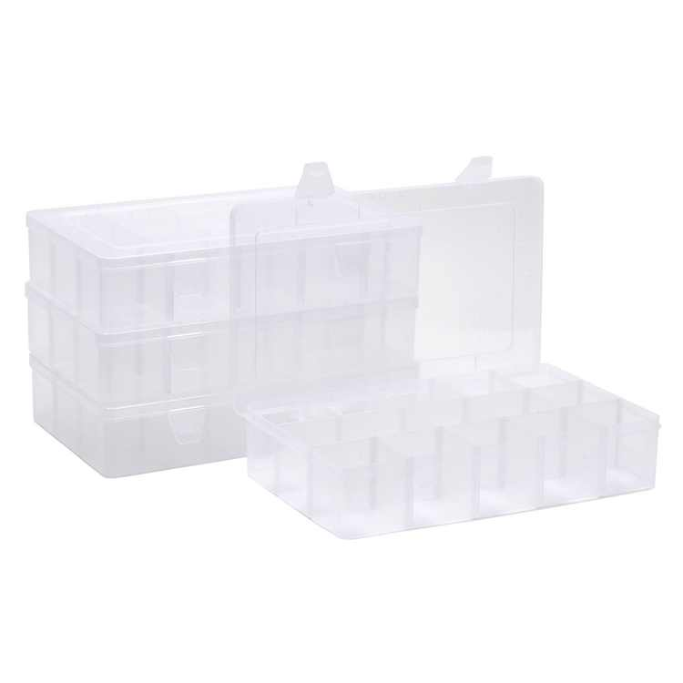 4 Pack Grid Organizer Craft Box with 15 Compartments for Nail & Beading Supplies, 10.9 x 6.5 in.