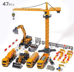 CUTE STONE Construction Vehicles Boys Toy Playsets, Crane Truck Excavator Crane Dump Truck Forklift Bulldozer Toy Car Sets for Kids Toddlers Child