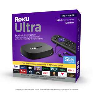 Roku Ultra 2020   Streaming Media Player HD/4K/HDR/Dolby Vision with Dolby Atmos, Bluetooth Streaming, and Roku Voice Remote with Headphone Jack and Personal Shortcuts, includes Premium HDMI Cable