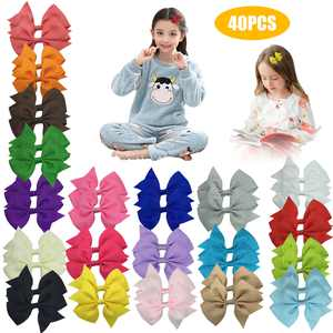 """40pcs Baby Girls Hair Bows Clips, EEEkit 20 Colors in Pairs Hairpins Grosgrain Ribbon Pinwheel Hair Pins Tiny 4"""" Alligator Clips, Hair Accessories for Little Girls Infants Toddlers Teens Gifts"""