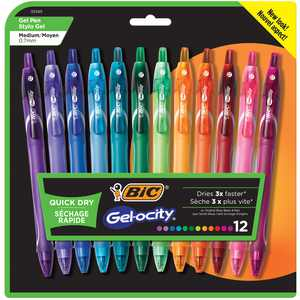 BIC Gelocity Quick Dry Retractable Fashion Gel Pen, Medium Point (0.7mm), Assorted Fashion Colors, 12 Count