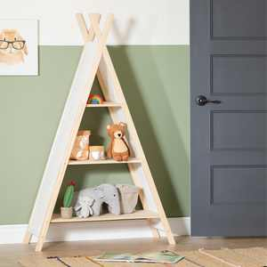 South Shore Sweedi Natural Cotton and Pine Teepee Shelving Unit