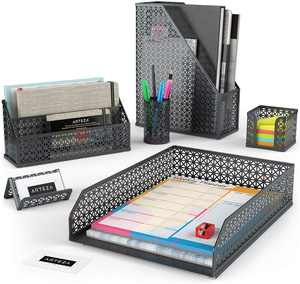 Arteza Desk Organizer, Gray Mesh, 6 Piece Set