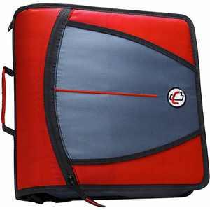 Case-It Mighty Zip Tab 3-Inch Zipper Binder, Red, D-146-RD