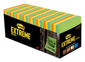"""Post-it Extreme Notes, 3"""" x 3"""", Orange, Green, Yellow, Mint, 32 Pads"""