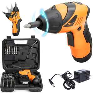 Cordless Electric Screwdriver, Household Rechargeable Screwdriver, 45PCS Power Tool Screw Gun Drill Kit w/ Adjustable Drill Head