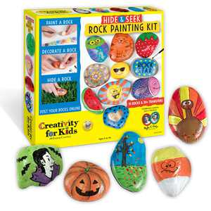 Creativity for Kids Hide and Seek Rock Painting Kit - Child Craft Kit for Boys and Girls