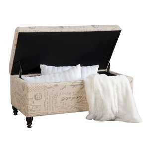 Luke Fabric Storage Ottoman Bench Beige - Christopher Knight Home