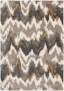 Mainstays Ikat Shag Indoor Area Rug, Gray, 5'x7'