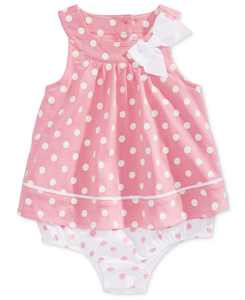 Baby Girls Dot-Print Cotton Skirted Romper, Created for Macy's