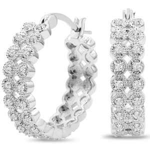 1/2 Carat Double Row Diamond Hoop Earrings, 3/4 Inch For Women