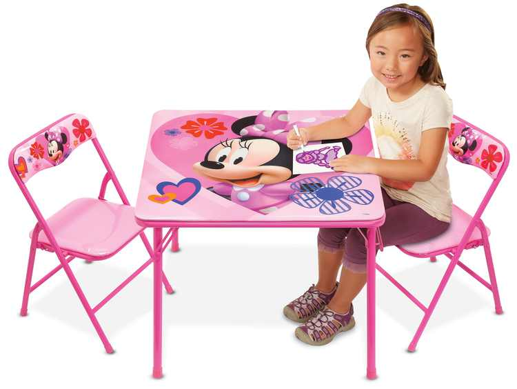 Disney Minnie Mouse Erasable Activity Table Playset & 2 Chairs