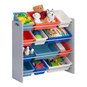 Honey Can Do Kids Toy Organizer With 12 Storage Bins, Gray