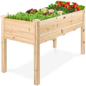 Best Choice Products 48x24x30in Elevated Raised Wood Planter Garden Bed Box Stand for Backyard, Patio - Natural
