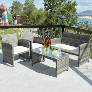 Costway 4 Pc Rattan Patio Furniture Set Garden Lawn Sofa with White Cushions