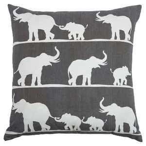 """Charcoal/White Marching Elephants Throw Pillow (20""""x20"""") - Rizzy Home"""