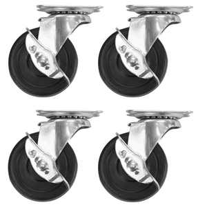 3ox 4 Pack 3-inch Caster Heavy Duty Rubber Caster Wheels with Brake Swivel Top Plate