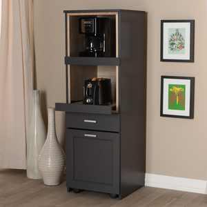 Baxton Studio Fabian Dark Grey and Oak Brown Finished Kitchen Cabinet